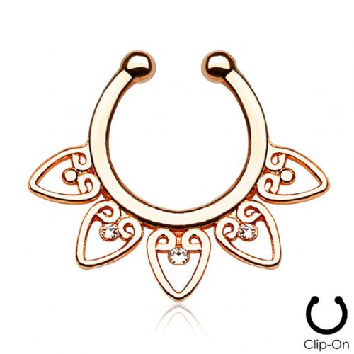 Rose Gold Plated Tribal Fan Non-Piercing Septum Ring Hanger with Clear Gems
